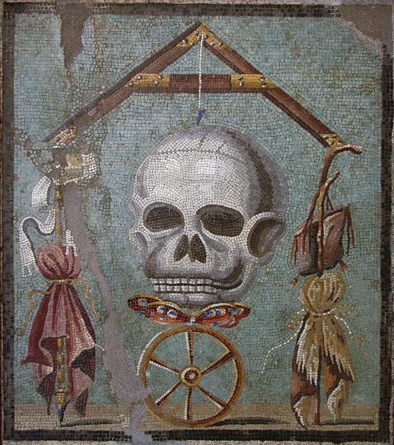 Memento mori. Mosaic from Pompeii. Inv. No. 109982. Naples, National Archaeological Museum.